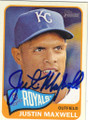 JUSTIN MAXWELL KANSAS CITY ROYALS AUTOGRAPHED FOOTBALL CARD #22615J
