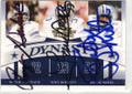 ROGER STAUBACH, TONY DORSETT & RANDY WHITE DALLAS COWBOYS TRIPLE AUTOGRAPHED FOOTBALL CARD #30315L