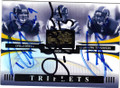 DREW BREES, JUNIOR SEAU & LaDAINIAN TOMLINSON SAN DIEGO CHARGERS TRIPLE AUTOGRAPHED & NUMBERED FOOTBALL CARD #31115L