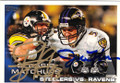 TROY POLAMALU & JOE FLACCO STEELERS VS RAVENS DOUBLE AUTOGRAPHED FOOTBALL CARD #31415H
