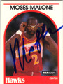 MOSES MALONE ATLANTA HAWKS AUTOGRAPHED VINTAGE BASKETBALL CARD #31915J