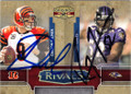 CARSON PALMER & RAY LEWIS DOUBLE AUTOGRAPHED & NUMBERED FOOTBALL CARD #31915M