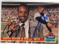 BARRY BONDS & WILLIE MAYS SAN FRANCISCO GIANTS DOUBLE AUTOGRAPHED BASEBALL CARD #32015L