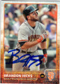 BRANDON HICKS SAN FRANCISCO GIANTS AUTOGRAPHED BASEBALL CARD #32115J