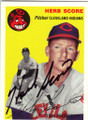 HERB SCORE CLEVELAND INDIANS AUTOGRAPHED BASEBALL CARD #32215B