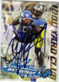 CALVIN JOHNSON DETROIT LIONS AUTOGRAPHED FOOTBALL CARD #32715E