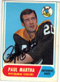 PAUL MARTHA PITTSBURGH STEELERS AUTOGRAPHED VINTAGE FOOTBALL CARD #32715M