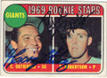 CESAR GUTIERREZ & RICH ROBERTSON SAN FRANCISCO GIANTS DOUBLE AUTOGRAPHED VINTAGE ROOKIE BASEBALL CARD #40415H