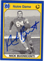 NICK BUONICONTI NOTRE DAME FIGHTIN' IRISH AUTOGRAPHED FOOTBALL CARD #40615D