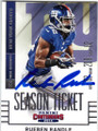 RUEBEN RANDLE NEW YORK GIANTS AUTOGRAPHED FOOTBALL CARD #41115L