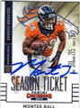 MONTEE BALL DENVER BRONCOS AUTOGRAPHED FOOTBALL CARD #41215F