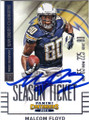 MALCOLM FLOYD SAN DIEGO CHARGERS AUTOGRAPHED FOOTBALL CARD #41415S