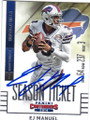 EJ MANUEL BUFFALO BILLS AUTOGRAPHED FOOTBALL CARD #41515J