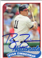 RYAN ZIMMERMAN WASHINGTON NATIONALS AUTOGRAPHED BASEBALL CARD #41815F