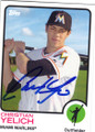 CHRISTIAN YELICH MIAMI MARLINS AUTOGRAPHED BASEBALL CARD #41815M