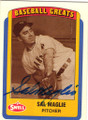 SAL MAGLIE SAN FRANCISCO GIANTS AUTOGRAPHED BASEBALL CARD #42415E