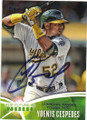 YOENIS CESPEDES OAKLAND ATHLETICS AUTOGRAPHED BASEBALL CARD #42715B
