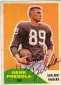 GENE PREBOLA OAKLAND RAIDERS AUTOGRAPHED VINTAGE ROOKIE FOOTBALL CARD #42815G