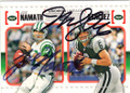 JOE NAMATH & MARK SANCHEZ NEW YORK JETS DOUBLE AUTOGRAPHED FOOTBALL CARD #50515G