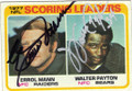ERROL MANN & WALTER PAYTON OAKLAND RAIDERS AND CHICAGO BEARS DOUBLE AUTOGRAPHED VINTAGE FOOTBALL CARD #52115D