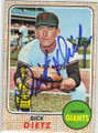 DICK DIETZ SAN FRANCISCO GIANTS AUTOGRAPHED VINTAGE BASEBALL CARD #52115E
