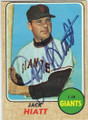 JACK HIATT SAN FRANCISCO GIANTS AUTOGRAPHED VINTAGE BASEBALL CARD #53115H