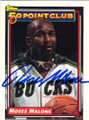 MOSES MALONE MILWAUKEE BUCKS AUTOGRAPHED BASKETBALL CARD #53115i