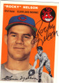 ROCKY NELSON CLEVELAND INDIANS AUTOGRAPHED BASEBALL CARD #60815E