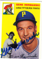GENE HERMANSKI PITTSBURGH PIRATES AUTOGRAPHED BASEBALL CARD #61015G