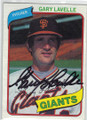GARY LAVELLE SAN FRANCISCO GIANTS AUTOGRAPHED VINTAGE BASEBALL CARD #61315C