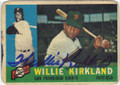 WILLIE KIRKLAND SAN FRANCISCO GIANTS AUTOGRAPHED VINTAGE BASEBALL CARD #61615C