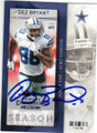 DEZ BRYANT DALLAS COWBOYS AUTOGRAPHED FOOTBALL CARD #61715K