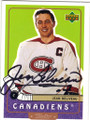 JEAN BELIVEAU MONTREAL CANADIENS AUTOGRAPHED HOCKEY CARD #62115F