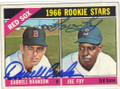 DARRELL BRANDON & JOE FOY BOSTON RED SOX DOUBLE AUTOGRAPHED VINTAGE ROOKIE BASEBALL CARD #70415A