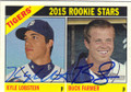 KYLE LOBSTEIN & BUCK FARMER DETROIT TIGERS DOUBLE AUTOGRAPHED ROOKIE BASEBALL CARD #70915D