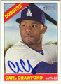CARL CRAWFORD LOS ANGELES DODGERS AUTOGRAPHED BASEBALL CARD #70915L