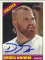 DEREK NORRIS OAKLAND ATHLETICS AUTOGRAPHED BASEBALL CARD #71415M