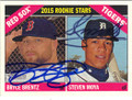 BRYCE BRENTZ & STEVEN MOYS BOSTON RED SOX & DETROIT TIGERS DOUBLE AUTOGRAPHED ROOKIE BASEBALL CARD #71415O