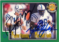 PEYTON MANNING & MARSHALL FAULK INDIANAPOLIS COLTS DOUBLE AUTOGRAPHED FOOTBALL CARD #71515C