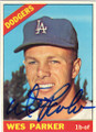 WES PARKER LOS ANGELES DODGERS AUTOGRAPHED BASEBALL CARD #72015D