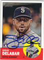 STEVE DELABAR SEATTLE MARINERS AUTOGRAPHED ROOKIE BASEBALL CARD #72015E
