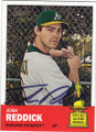 JOSH REDDICK OAKLAND ATHLETICS AUTOGRAPHED BASEBALL CARD #73015A