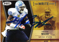 HAKEEM NICKS NORTH CAROLINA STATE AUTOGRAPHED ROOKIE FOOTBALL CARD #80315F