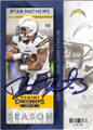 RYAN MATHEWS SAN DIEGO CHARGERS AUTOGRAPHED FOOTBALL CARD #81215B