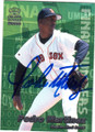 PEDRO MARTINEZ BOSTON RED SOX AUTOGRAPHED BASEBALL CARD #82715A