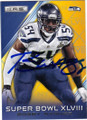 BOBBY WAGNER SEATTLE SEAHAWKS AUTOGRAPHED FOOTBALL CARD #111415D