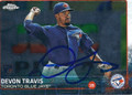 DEVON TRAVIS TORONTO BLUE JAYS AUTOGRAPHED ROOKIE BASEBALL CARD #120215J