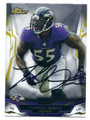 TERRELL SUGGS BALTIMORE RAVENS AUTOGRAPHED FOOTBALL CARD #121415G