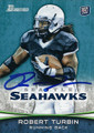 ROBERT TURBIN SEATTLE SEAHAWKS AUTOGRAPHED ROOKIE FOOTBALL CARD #121515B