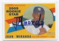 JUAN MIRANDA NEW YORK YANKEES AUTOGRAPHED BASEBALL CARD #122115C